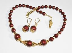 Bordeaux Swarovski Crystal Pearls and Gold Necklace and Earring Set