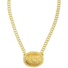 Romana Necklace 24K Yellow Gold Stone ($220) ❤ liked on Polyvore featuring jewelry, necklaces, nickel free necklace, gold jewellery, 24k gold necklace, nickel free jewelry and chains jewelry