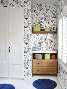 Schumacher Birds and Butterflies Wallpaper Multi on White 2704420