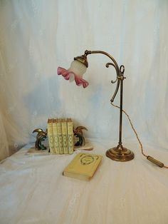 Antique French bronze table lamp with tulip shade by Frenchidyll