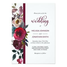 Floral Burgundy Marsala Red Wine Roses Wedding Card Customizable Invitations #beach #summer #wedding #invitation #weddinginvitation