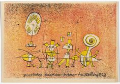 "Paul Klee, ""Bauhaus Ausstellung Weimar Juli–Sept, 1923, Karte 5"" (1923), lithograph, 3 15/16 x 5 7/8 inches (all images courtesy Museum of Modern Art, Committee on Architecture and Design Funds, photos by John Wronn)"