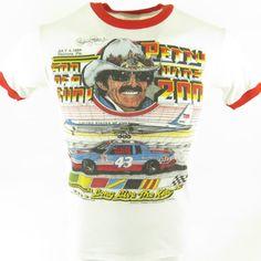 Vintage 80s  NASCAR T-shirt Mens M Richard Petty Thin 50/50 July 4th 1984 [H39C_0-5]