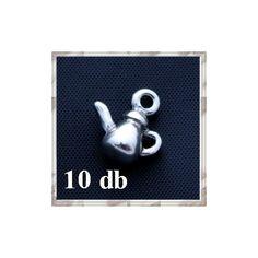 10 db Antikolt ezüst színű kicsi teáskanna függő dísz - * ÚJDONSÁGOK * - Csinálj Ékszert! webáruház