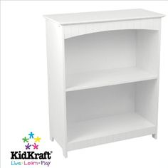 Classic style and white finish Wide and deep shelves for storage Sturdy construction KidKraft Nantucket 2-shelf Bookcase