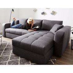 Canapé d'angle convertible électriquement, méridienne modulable et coffre de rangement, en tissu