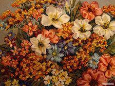 quadro de flores de fita
