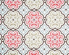 Contemporary Red & Brown Designer Fabric by the by CottonCircle