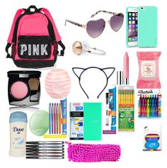 What's in my backpack! by seragart on Polyvore featuring polyvore, interior, interiors, interior design, home, home decor, interior decorating, Sharpie, Paper Mate, Aéropostale, Chanel, Burt's Bees, River Island, Clinique, Eos, Insten and Frends