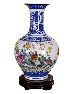 Amazon.com - Jsaron Home Oriental D¨¦cor Painting of Flowers Birds, Blue and White Porcelain vase Type B -