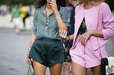 Annie Georgia Greenberg and Leandra Medine and their high waisted short shorts in NY. #YoungJunKoo