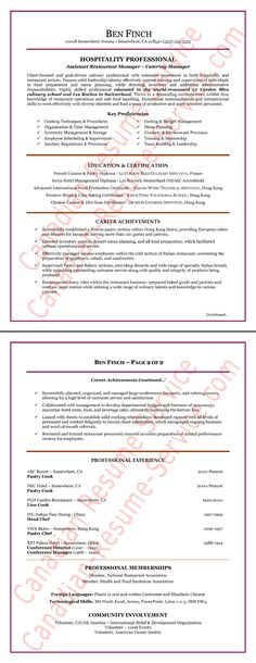 Hospitality Resume Writing Example - Hospitality Resume Writing