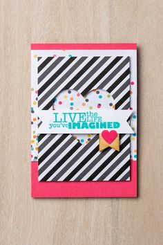 Part of a set of six cards we made using:  Everyday Adventure Project Life Card Collection #135298 Everyday Adventure Project Life Accessory Pack #135301 Really Good Greetings Stamp Set – Clear #130333