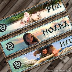 Free printables Moana water bottle labels. Great for a Moana themed party birthday party. Make moana themed labels! Free download!