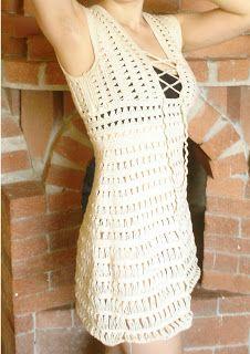 "Cossalina - Crochet Bikini, Handmade Crochet Bikinis, Unique Swimwear by Alinutza Fashion: Crocheted Dress - Jennifer Aniston in ""Just Go with It"" - FINISHED! Jennifer Aniston, Crochet Bikini, Crochet Top, Crochet Things, Crochet Hats, Crotchet Dress, Dress Patterns, Crochet Patterns, Crochet Ideas"