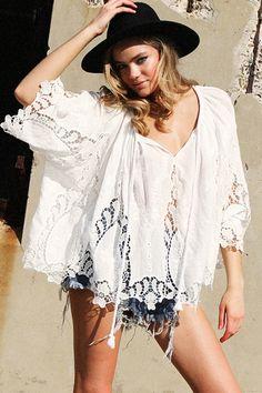 Isabel Crochet Plunging Neck White Blouse