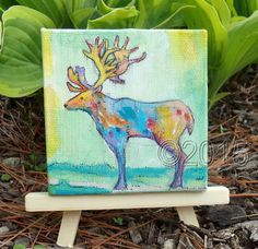 deer original mini painting home decor by thebluewindmill on Etsy