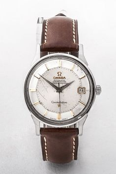 1962 Omega steel Constellation watch, date and pie pan dial with brown leather strap, 33mm dial. #dublin #ireland #fathersday #breretonjewellers #weddingjewellery #junebirthday #vintagewatch #luxuryjewellery #dublinjewellers #watch #wedding #summer #spring #gifts #watch #omega