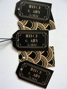 Set of 50 / Double-sided Favor Tags / Choose Color / Wedding / Deco Scallop Pttern / Black Gold Silver White / String /1920s Beveled Border