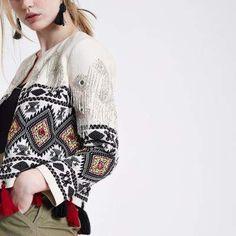 River Island Womens White embroidered tassel hem jacket