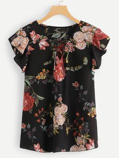 Shop Plus Lace Up V Neck Floral Ruffle Top online. SHEIN offers Plus Lace Up V Neck Floral Ruffle Top & more to fit your fashionable needs. Womens Fashion Stores, Stitch Fix Stylist, Plus Size Blouses, Ruffle Top, Ruffle Blouse, Summer Tops, Cute Tops, Floral Tops, Floral Motif