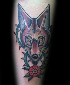 60 Coyote Tattoos For Men - Canis Latrans Design Ideas Lechuza Tattoo, Coyote Drawing, Coyote Tattoo, Tattoos For Guys, Cool Tattoos, Small Animal Tattoos, Knee Tattoo, Howl At The Moon, Cartoon Tattoos
