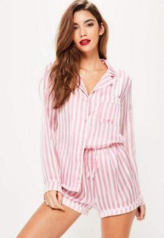 0373dfc650 Missguided Pink Striped Pajama Set