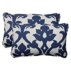Outdoor 2-Piece Rectangular Toss Pillow Set - Blue/White Damask