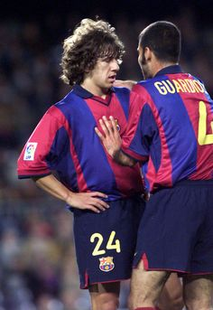 Carles Puyol and Pep Guardiola, FC Barcelona.