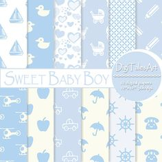 Sweet Baby Boy Digital Paper Pack by DigiTalesArt.