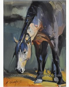 "Western Horse Portrait Original Oil Panel Painting 5x7"" | eBay"