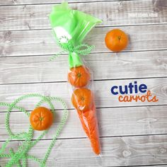 Cutie Carrots- With spring here and Easter quickly approaching, we made some Cutie Carrots with a few simple supplies! These are such a wonderful candy-free alternative for gift giving this season!