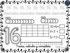 Fichas para trabajar los números del 1 al 30 -Orientacion Andujar Planner 2018, Spanish Worksheets, Kindergarten Math Activities, Maths, Number Sense, Notebook, Bullet Journal, School, Montessori