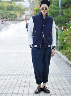 Streetstyle: Kim Wonjung at Seoul Fashion Week S/S 2013 by Choi Seung Jum Man Fashion, I Love Fashion, Fashion Outfits, Street Snap, Men Street, Man About Town, Rude Boy, Boys Style, Wide Pants