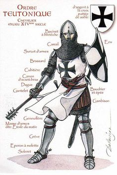 Deutscher Orden (Teutonic Knight), century The Order of Brothers of the German House of Saint Mary in Jerusalem. Medieval Knight, Medieval Armor, Medieval Fantasy, Armadura Medieval, Crusader Knight, Knight Armor, Knights Hospitaller, Knights Templar, German Houses