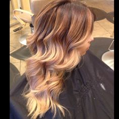 Summer balayage ombré. Dark roots fading to warm blonde tips<3!