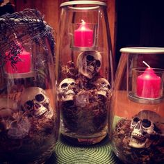 This is something I would do!  I love Halloween! Can use Partylite Symmetry Trio with candles.
