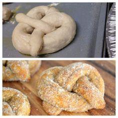 homemade soft pretzels with cinnamon sugar