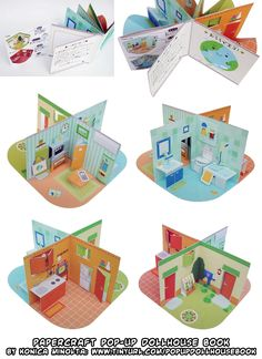 Printable Papercraft pop-up dollhouse book! Usually, dollhouses can take up a lot of room, but this papercraft pop-up dollhouse kitchen, bathroom, living room and small garden all . This would be great for elements or moon phases centerpieces Paper Doll House, Paper Dolls, Lego Star Trek, Star Wars, Arte Pop Up, Origami, Diy And Crafts, Crafts For Kids, Paper Pop