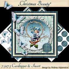 Cardtopper with matching Insert Christmas Beauty on Craftsuprint designed by Andrea Hippenstiel - 7.5 x 7.5 Cardtopper with matching insert.sentiments used: Merry christmas, from my home to yours, from our home to yours, winter wishes, season greetings, happy holidays - Now available for download!