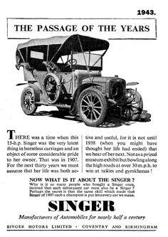 1943. Singer Motors advert