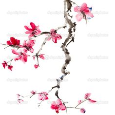 chinese cherry blossom painting   Chinese painting   Stock Photo © Peng-Guang Chen #5019133