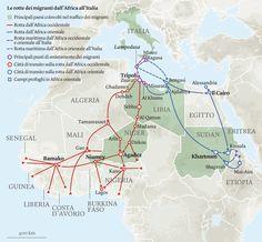 Le rotte migratorie sono più o meno note, ma contano i dettagli. Questa mappa è stata disegnata sulla base di centinaia di testimonianze di migranti raccolte da Medici per i diritti umani.