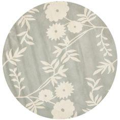 Handmade Soho Gray/Ivory New Zealand Wool Floral Rug (6' Round) $198