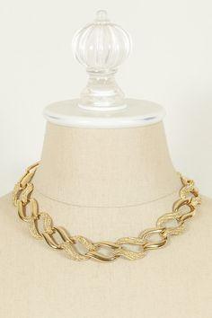 Vintage Napier Etched Swirl Link Necklace