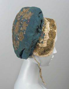 Woman's cap, date unknown | Blue cotton cap embroidered with metal thread and colored tinsel and trimmed with gold lace | Museum of Fine Arts, Boston