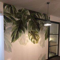 Tropical Rainforest Banana Leaves Green Leaf Wallpaper Wall Mural, Hanging Leaf Oil Painting Wall Mural, Wall Decor Wall Art for Home Decor Tree Wallpaper For Walls, Garden Wallpaper, Green Leaf Wallpaper, Flowers Wallpaper, Painting Wallpaper, Leaves Wallpaper, Grey Jungle Wallpaper, Ink Painting, Art Mural