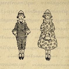 Printable Image Antique Boy and Girl Download Children Child Graphic Digital Vintage Clip Art. High quality digital image download for making prints, fabric transfers, pillows, and much more. Real printable antique clip art. Antique artwork. This image is high quality at 8½ x 11 inches large. Transparent background version included with every graphic.