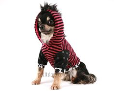 Dog clothes Pink Stripe and dots mohawk fleece by PetitDogApparel, $29.00