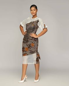 A Line Ankara Style With Material Sleeve And Frock Ankara Short Flare Gowns, Short African Dresses, Ankara Short Gown Styles, Latest African Fashion Dresses, Ankara Gowns, Long Ankara Dresses, African Outfits, Work Dresses, Ankara Fashion
